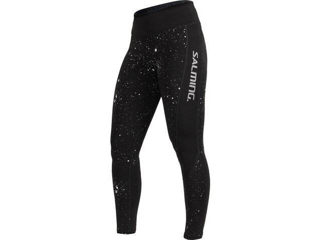 Salming Reflective Leggings Dames, black/silver reflective